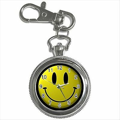 NEW* HOT SMILEY FACE Silver Color Tone Key Chain Ring Watch Gift