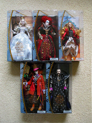 Disney Store Alice Through The Looking Glass Film Collection Complete 5 Doll Set