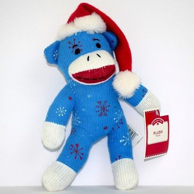 Monkey Plush Blue Red Snowflakes Dan Dee Stuffed Toy Holiday Time 9.5 inch
