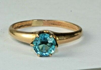Antique 14K Gold Shell Faux Zircon Tiffany Setting Ring