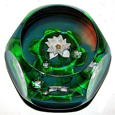 Beautiful St. Louis France Monet Water Lilies Faceted Paperweight Perfect!
