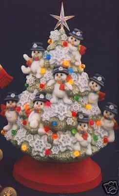 Ceramic Bisque Ready to Paint Snowman Tree with electric kit, lights, and Star