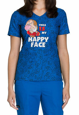 Cherokee Tooniforms Medical Scrubs This Is My Happy Face Top Sz XS-XXL NWT