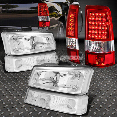 Chrome Headlight+Clear Bumper+Red Led Brake/tail Light For 03-07 Chevy Silverado