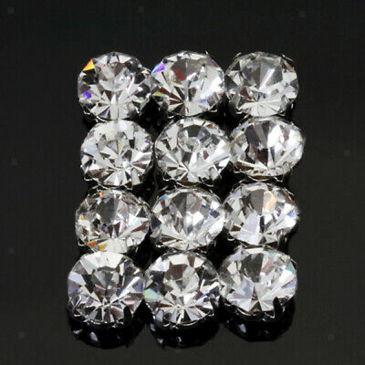 12Pcs Faceted Loose crystal sew on rhinestone Silver clear Beads 10mm