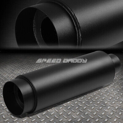 """2.5""""inlet With 4.5"""" Black Tip+Silencer T304 Steel Racing Round Exhaust Muffler"""
