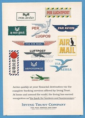 1965 Irving Trust Wall Street Bankers Air Mail Stamps Portugal Australia Ad