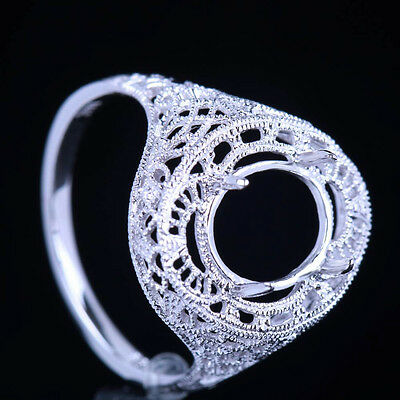 Solid 10K White Gold Antique Vintage 10x8mm Oval Semi Mount Setting Wedding Ring