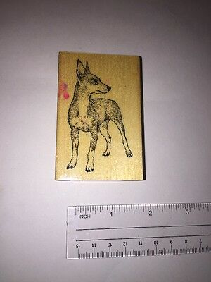 MIN PIN Rubber DOG STAMP wood STAMPER mounted PUPPY ANIMAL Miniature Pinscher