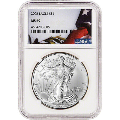 2008 American Silver Eagle - NGC MS69 - Flag Label
