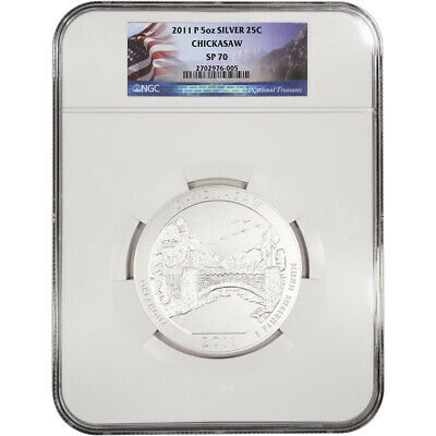 2011-P ATB Chickasaw Silver (5 oz) 25C - NGC SP70 - Flag Label