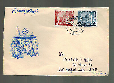 1954 Leipzig Fair East Germany DDR First Day Cover # 214 215 Messe  FDC to USA