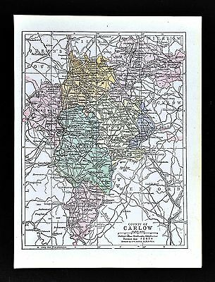 1900 Ireland Map - Carlow County Tullow Clonegall Bagenalstown Rathvilly Myshall