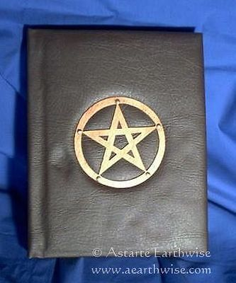 BOOK OF SHADOWS 30x24cm Wicca Pagan Witch Goth SYNTHETIC LEATHER WITH PENTAGRAM