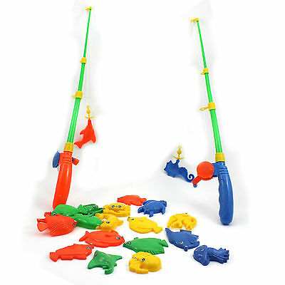 Educational Fish Game Magnetic 2 Fishing Pole Rod + 20 Fish Model Set Kids Toy