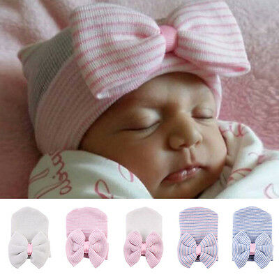 Lovely Baby Infant Striped Cap Hospital Newborn Soft Beanie Bow Warm Hat 5 Color