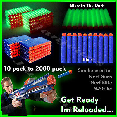 1-2000 Pcs NERF Gun Refill Soft Darts Bullets Toy Gun N -Strike Round Head Blast