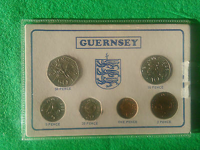 Guernsey 1985 - 1990 uncirculated 6 coin type set freepost uk