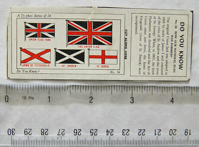 1962 Typhoo Do you Know card No. 24 How our National flag was formed?