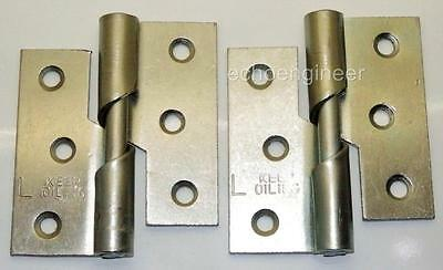 "Pair of 3"" / 75mm Zinc Plated Steel LEFT HAND Rising Butt Hinges + Screws"