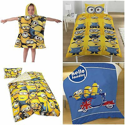 Despicable Me Minions Duvet Cover Bedding Sets or Fleece Blanket or Towel Poncho
