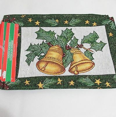 Christmas House Tapestry Placemat Set of 6 Holiday Bells Holly Leaves New