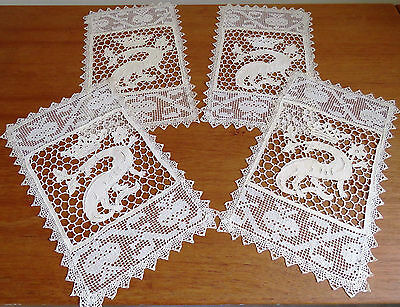 Antique Lace Placemats Set Dragon Crown 4 Handmade Needlelace Table Place Mats
