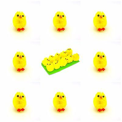 10 Plush Mini Yellow Chicks Bonnet Hat Craft Kids Easter Egg Hamper Decorations