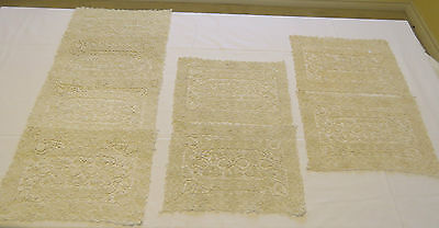 Antique Lace Placemats Set 8 Handmade Reticella Needlelace Table Mats Wheels