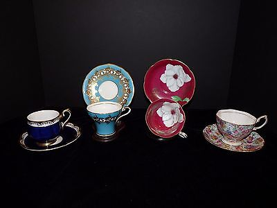 4 Cup & Saucer Royal Albert Aynsley Rossetti Occupied Japan Cobalt Turquoise