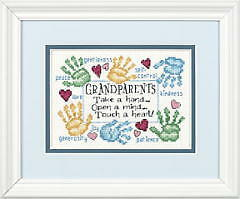 Dimensions D65011 Grandparents Touch A Heart Sampler Counted Cross Stitch Kit