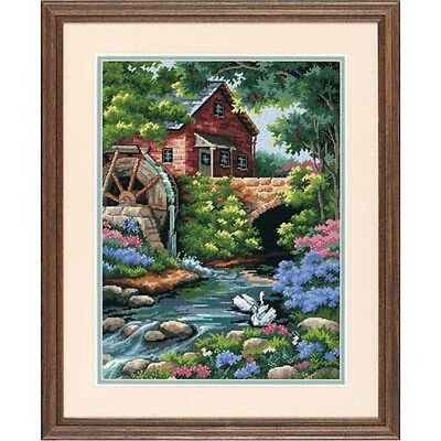 Dimensions D02484 14 Mesh Printed Canvas Old Mill Cottage Tapestry Kit 30 x 41cm