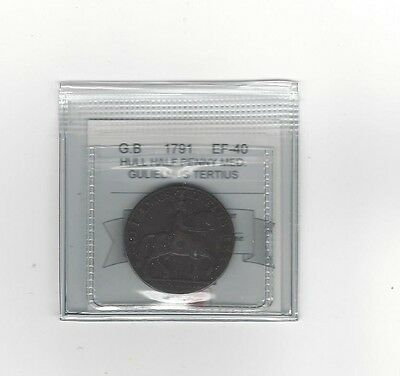 **1791**Great Britain, Gulielmus Tertius Half Penny, Coin Mart Graded **EF-40**