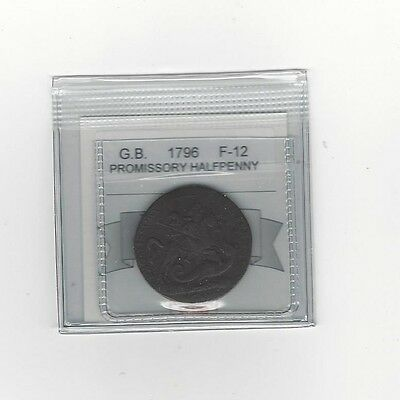 **1796**Great Britain, Promissory Half Penny, Coin Mart Graded **F-12**