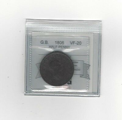 **1806**Great Britain, Half Penny, Coin Mart Graded **VF-20**