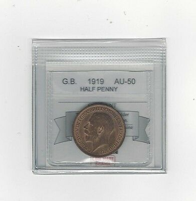 **1919**Great Britain, Half Penny, Coin Mart Graded **AU-50**
