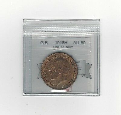 **1918H**Great Britain, One Penny, Coin Mart Graded **AU-50**