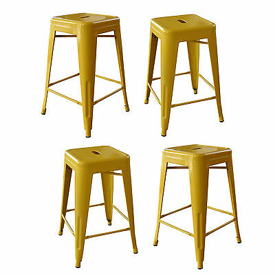 AmeriHome BS24GOLDSET Loft Gold 24 Inch Metal Bar Stool - 4 Piece