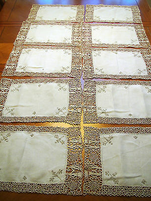 10 Antique Placemats Linen Figural Needlelace Table Mats Embroidered Reticella