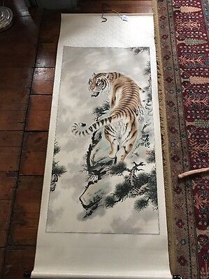 Chinese scroll painting of a tiger ,ink and color on paper, signed
