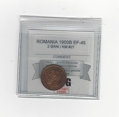 **1900B** Romania, 2 Bani, Coin Mart Graded**EF-45** KM #27