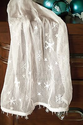 Wind Chill Table Runner by Heritage Lace, Snowflakes on Crushed Lace, Four Sizes