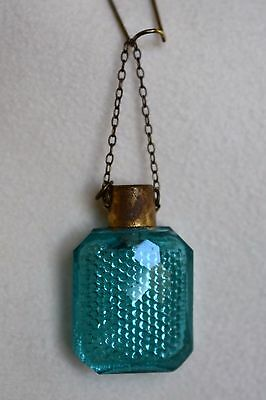 Teal Green Antique Miniature Faceted Glass Chatelaine Perfume Flask Scent Bottle