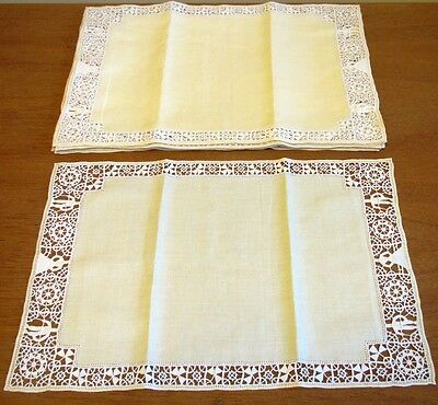 Antique Figural Placemats Set Linen & Needle lace Reticella Handmade