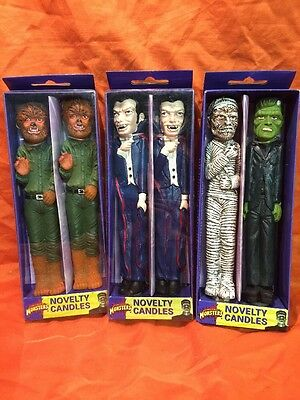 Scarce Vintage Universal Monsters Unused Novelty Candles Lot Frankenstein Mummy