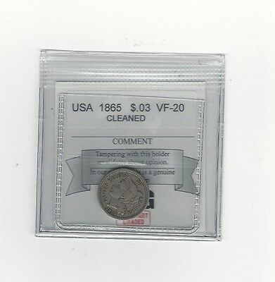 **1865** USA, 3 Cents,Coin Mart Packaged, Cleaned