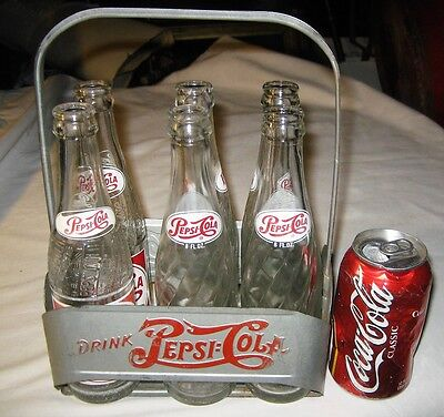 Antique Pepsi Cola Soda Glass Bottles Aluminum Art Sign Rack Carrier Holder Usa