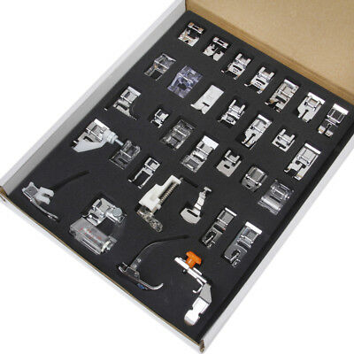 32 Domestic Sewing Machine Presser Foot Set w/ Box for Brother,  Janome etc.