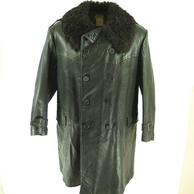 Vintage 40s WWII Swedish Horsehide Leather Coat XL Curly Lambskin