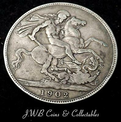 1902 Edward VII Silver Crown Coin Great Britain.- Ref; t/m.